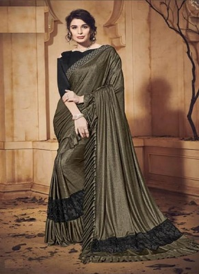 Mehendi embroidered lycra saree with blouse