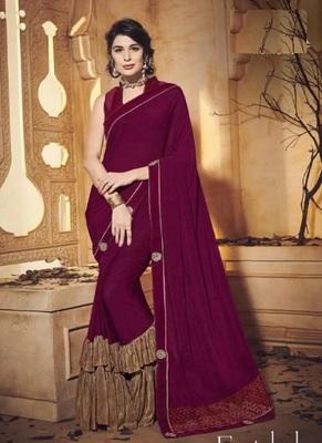 dark magenta embroidered lycra saree with blouse
