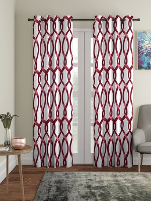 maroon Polyester Plain Printed Door Curtains for Bedroom, Kitchen, Kids or Living Room