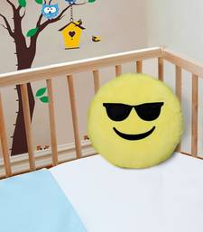 "Smiley Emoji Soft Polyester Pillow - 15.7""x15.7"", Yellow-012"