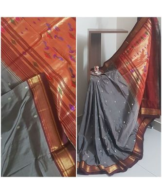 Grey pure silk traditional Paithani saree with blouse