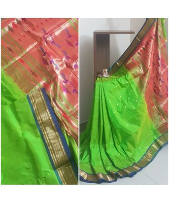 Parrot green handloom pure silk traditional paithani saree with blouse