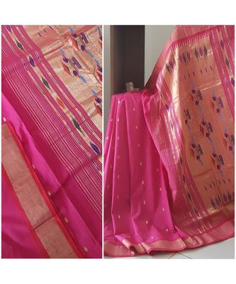 Pink handloom cotton traditional paithani saree with blouse