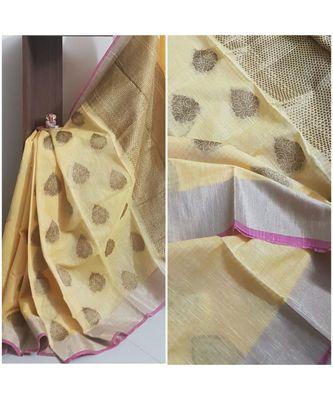 Yellow banarasi brocade woven saree with blouse