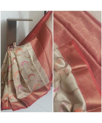 Gold banarasi brocade woven saree with blouse