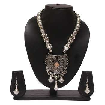 Oxidized navratri special necklace set with earring sets