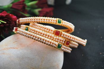 Pear and stone studded 4 bangles
