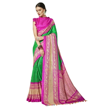 Multicolor plain  cotton saree with blouse