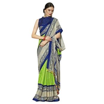 Multicolor plain cotton saree with blouse