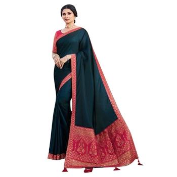 Multicolor plain silk saree with blouse