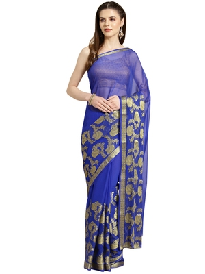 Blue Woven faux chiffon saree with blouse