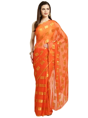 Orange Woven faux chiffon saree with blouse