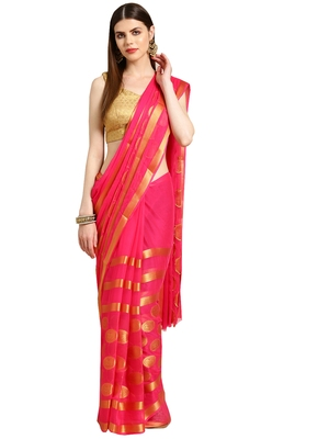 Pink Woven faux chiffon saree with blouse