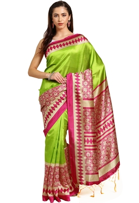 Green plain art silk saree with blouse