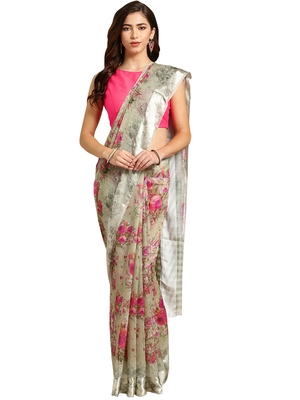 Grey Printed cotton poly saree with blouse