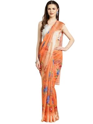 Orange Printed cotton poly saree with blouse