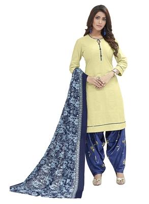 Cream printed Cotton unstitched salwar with dupatta