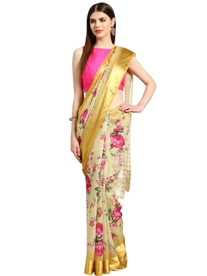 Beige Printed cotton poly saree with blouse
