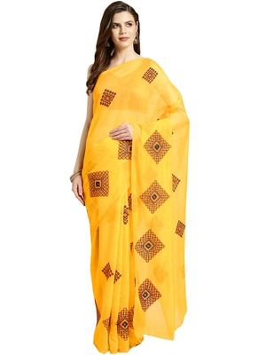 Yellow Embroidered cotton poly saree with blouse