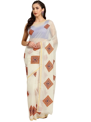 White Embroidered cotton poly saree with blouse