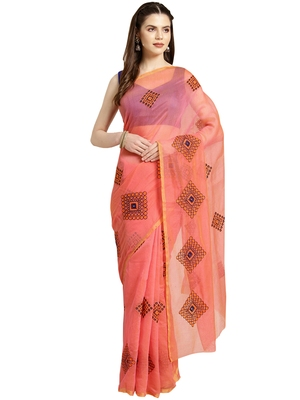 Peach Embroidered cotton poly saree with blouse