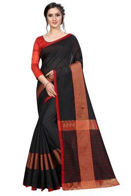 Black plain cotton saree with blouse