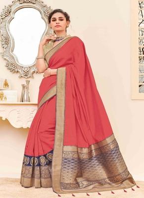 dark peach woven silk blend saree with blouse
