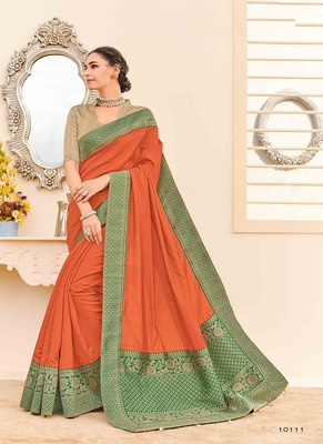 Rust woven silk blend saree with blouse