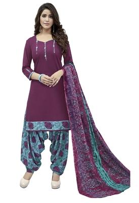 Purple printed Cotton unstitched salwar with dupatta