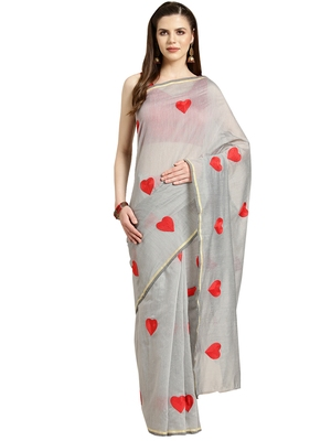 Grey Embroidered poly silk saree with blouse