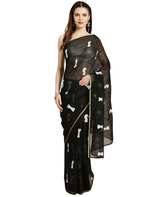 Black Embroidered poly silk saree with blouse