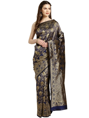 Blue Woven poly silk saree with blouse