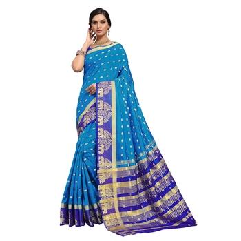 Blue hand woven art silk sarees saree with blouse