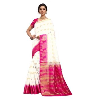 Cream hand woven art silk sarees saree with blouse
