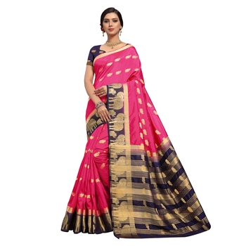 Pink hand woven art silk sarees saree with blouse