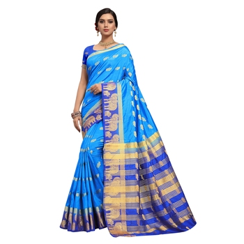 Blue hand woven art silk sarees saree with blouse