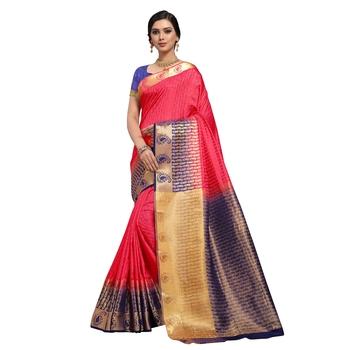 Pink hand woven art silk sarees saree with blouse