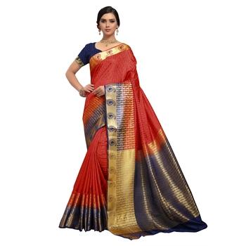 Red hand woven art silk sarees saree with blouse