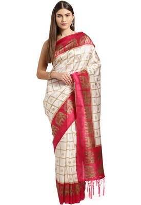 White printed art_silk saree with blouse