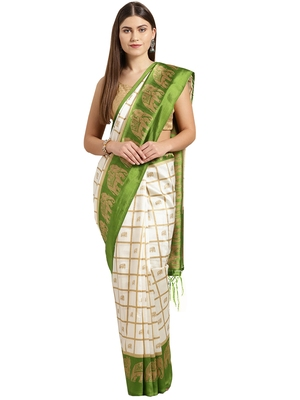 White printed art_silk saree with blouse
