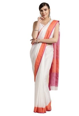 White woven poly_cotton saree with blouse