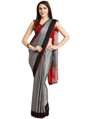 Grey woven poly_cotton saree with blouse