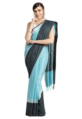 Blue woven poly_cotton saree with blouse
