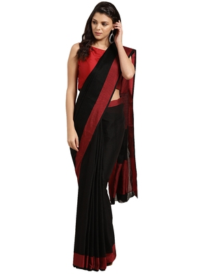 Black woven poly_cotton saree with blouse