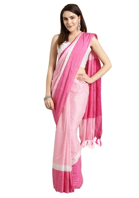 Pink woven poly_cotton saree with blouse