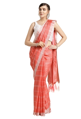 Peach woven poly_cotton saree with blouse