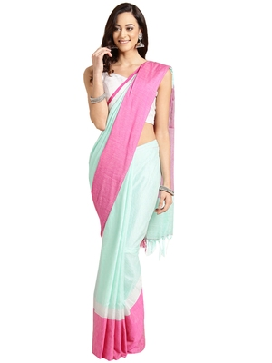 Green woven poly_cotton saree with blouse