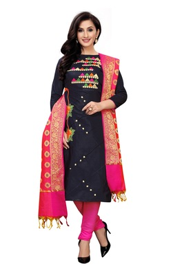 Women's black Embroideried Cotton silk unstitched sawlar with dupatta