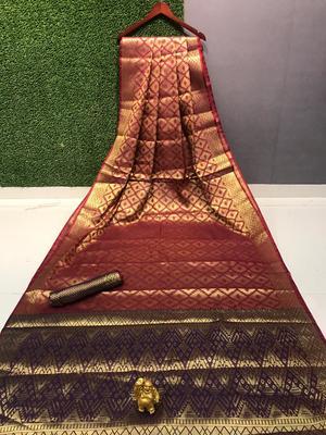red Chennai kanjivaram silk Saree With Attached Blouse