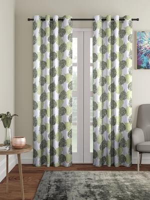 green Polyester Plain Printed Door Curtains for Bedroom, Kitchen, Kids or Living Room